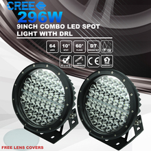 4wd 4x4 296w Spot Flood DRL 9 inch 9-64v Led Driving Light for Cars