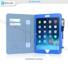 For ipad air tablet case, stand leather case for ipad air 9.7inch with elastic hand strap