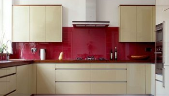 Red Color Kitchen Glass Wall Panels