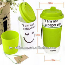 Heat resistance silicone rubber coffee cup lid and sleeve