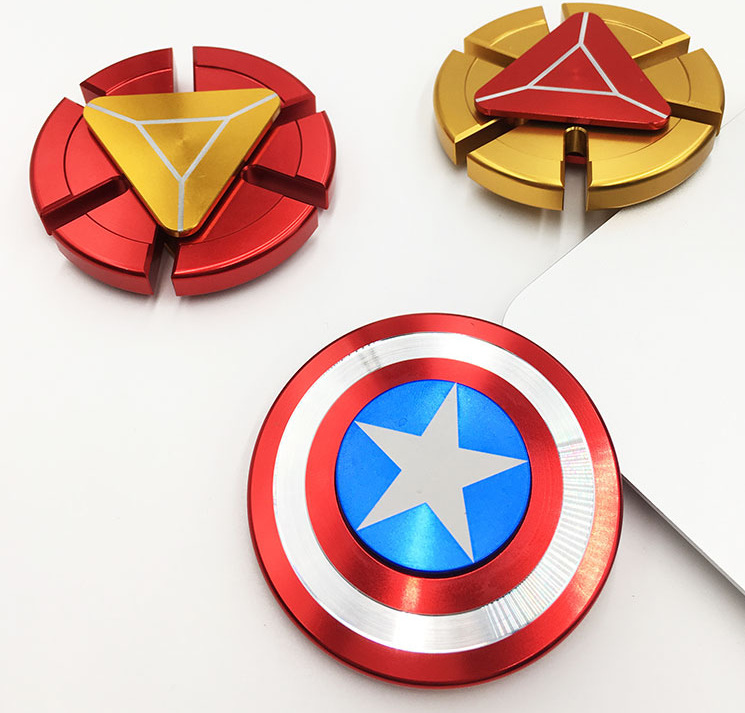 Stocked aluminum zinc alloy metal captain America spider Ironman wind metal hand fidget spinner for kids