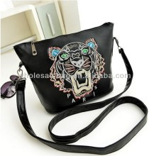 2014 Trend Designer Hot Sale Tiger Head Embroidery Handbag Tote Bag For Ladies Women Girl In Stock Wholesale