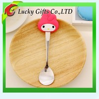 FDA Approval Cartoon Animal Silicone PVC Spoon for Kids Promotion