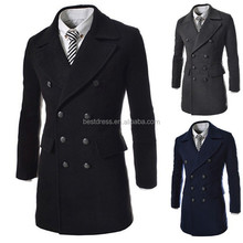 Wholesale New korean style woolen men coat long double breasted men coat 3colors M_XXL