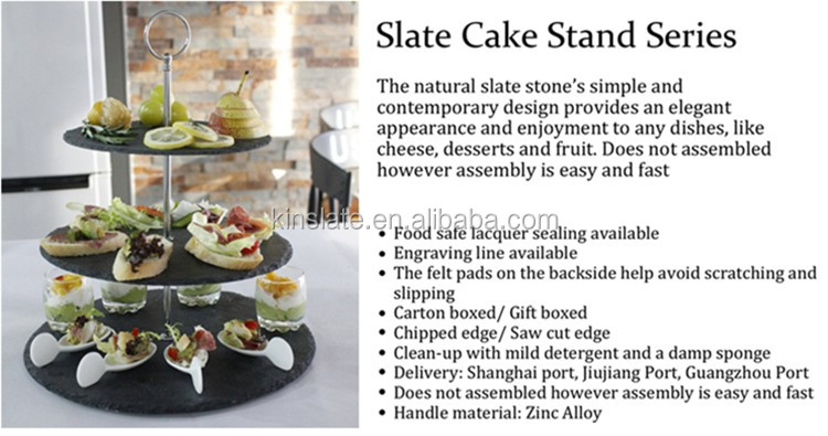 Chinese style 1tier square slate cake stand