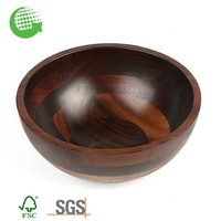 Eco Friendly Custom Wooden Nut Extra Large Black Salad Bowl With Cracker