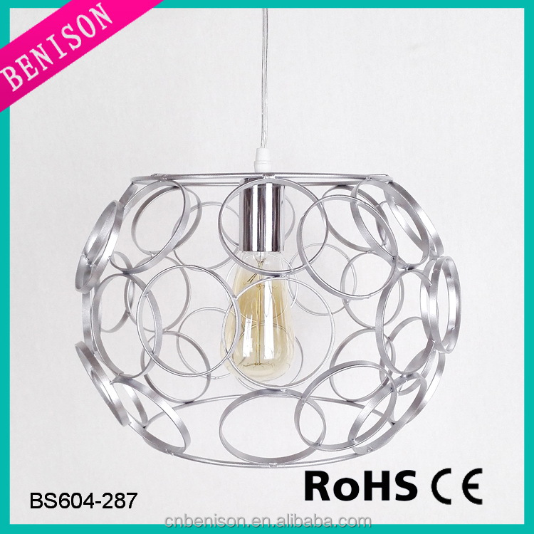 Hot selling silver retro hanging wire cage lamp for living room