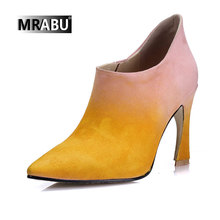 pointed toe suede 9cm high heels ankle boots latest design fashion stilettos shoes thin high boots