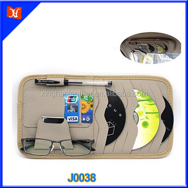 Versatile Genuine Leather DVD case credit card holder for car owners