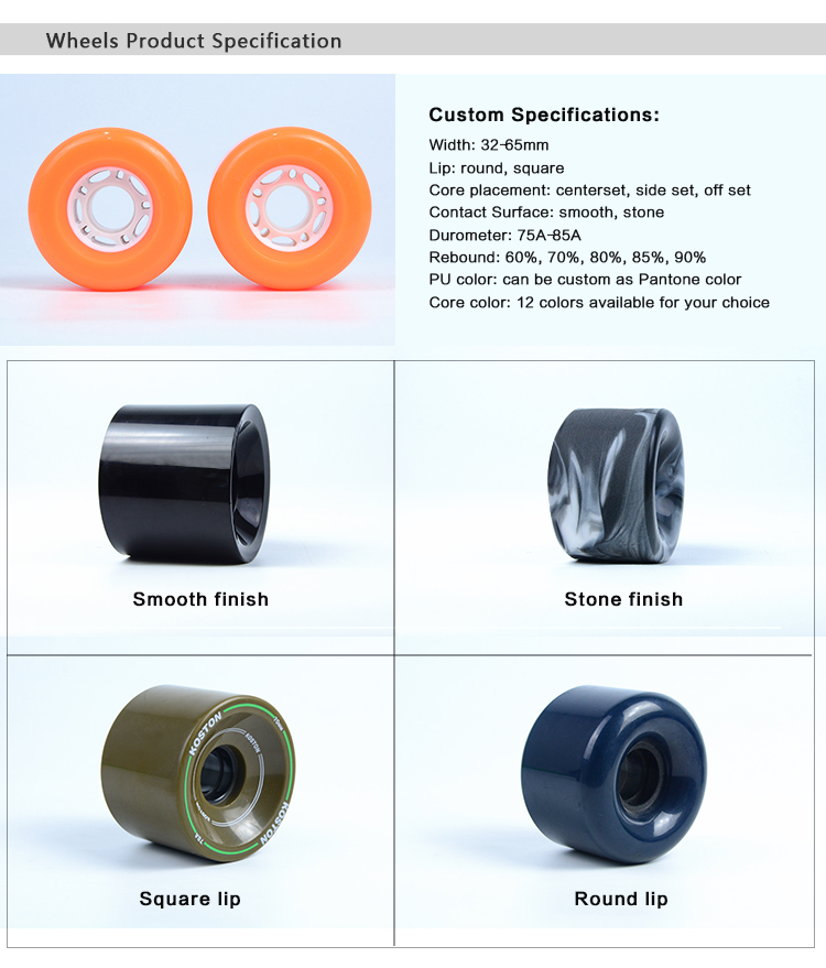Customized Newly-developed longboard wheels with different sizes for cruiser
