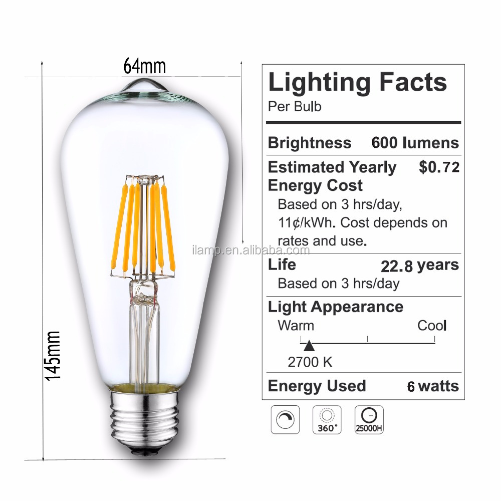 UL CE RoSH approved 2700K E26E27 ST64 ST48 soft filament LED Edison Bulb