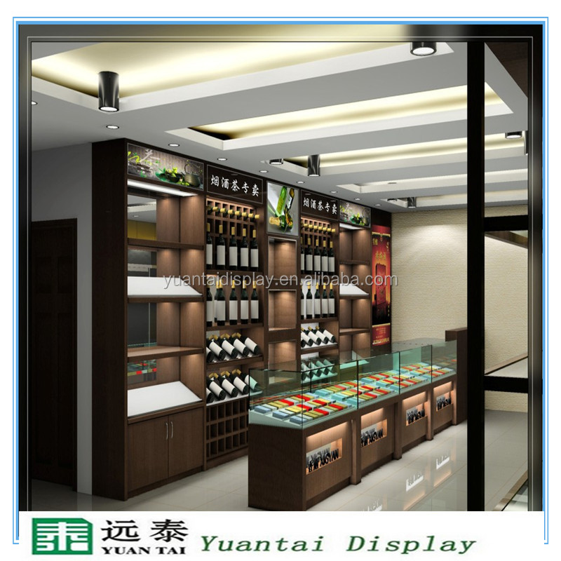 Classic red wine display show case design and cheap price glass cigarette display stand