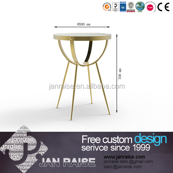 European classic house use glass top coffee table design metal tea table