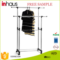 Double pole stainless steel adjustable garment rack revolving rotating telescopic stand clothes drying rack manufacturer