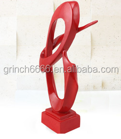 abstract red painted resin sculpture,resin sculpture indoor decora