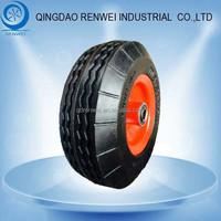 8 inch * 2.50-4 Solid Wheel with Steel Rim PU for Garden Cart/8 inch PU foam Wheel & Flat Free Tire