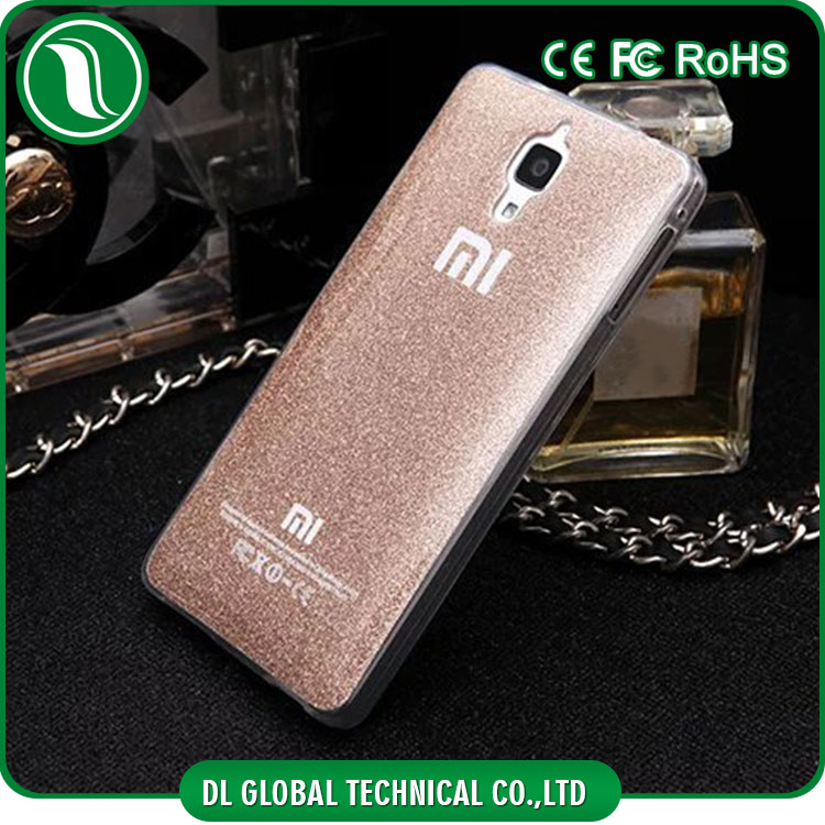 Top selling products in alibaba IMD glitter powder for xiaomi mi4 back cover pure color tpu case for xiaomi mi4 mobile phone
