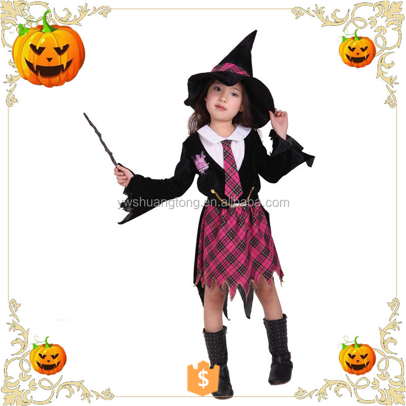 OEM design 2017 Halloween children dress up as witches with a magic withes for party