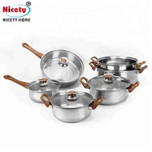 Nicety wholesale food warmer cookware set stainless steel cooking pots with lid