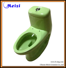 One piece bathroom ceramic toilet in green