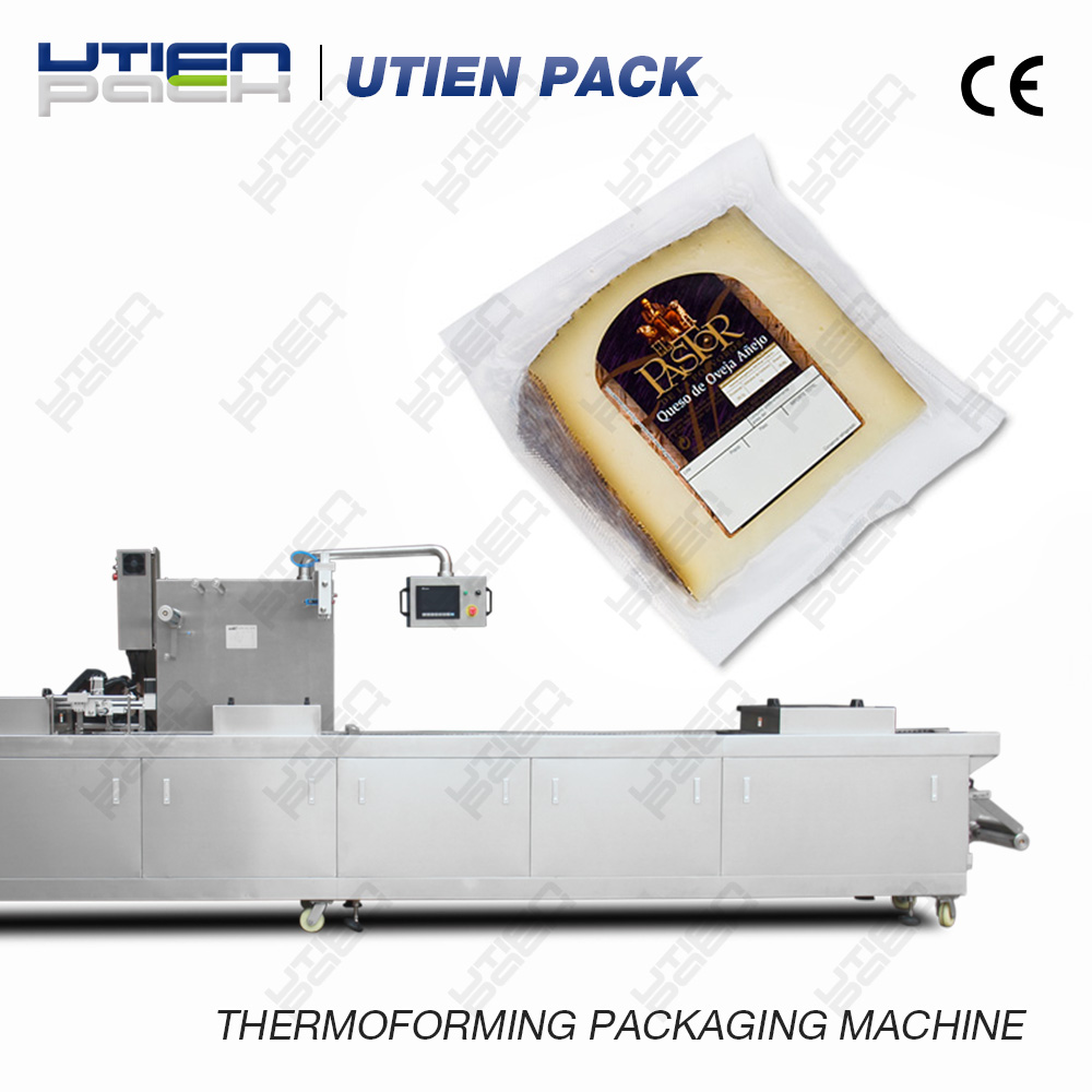 Plastic thermoforming cheese packaging machine
