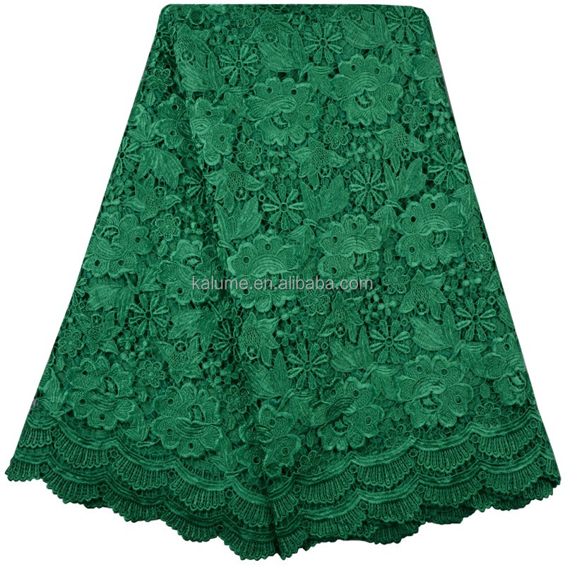 Green Guipure Lace Dress Fabric Swiss Lace Fabric For Wigs Heavy Cotton Lace Fabric 807