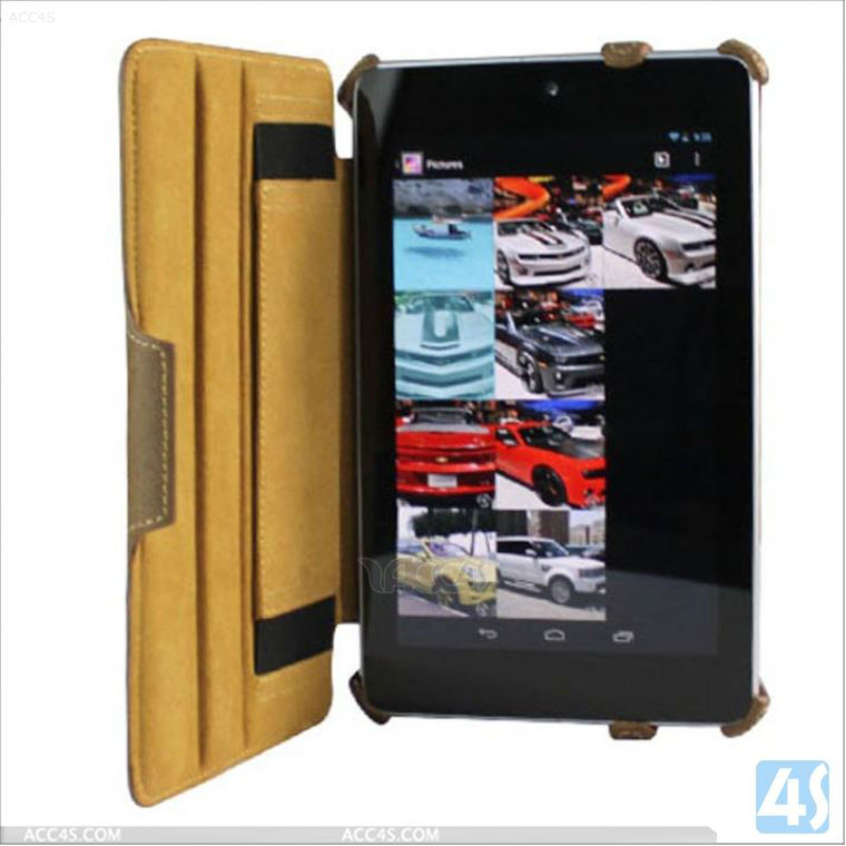 For Google Nexus 7 Leather Case with hand strap P-GGNEXUS7CASE018