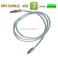 High quality Gold metal shell with Flat mfi cable for iphone 5S, for IPAD AIR Support Ios7.1.2 have mfi certification
