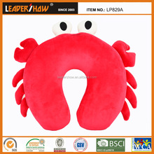 Crab stuffed U shape animal pillow/head rest car flight microbeads cushion