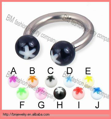 Acrylic flower ball 316L stainless steel circular barbell body jewelry indian nose rings piercing