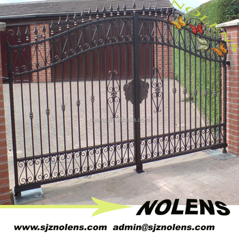 New style wrought iron house main gate designs low price for Style house professional styling iron price