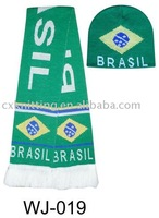 knitted soccer scarf and hat for Brazil