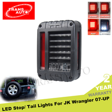 Black Led Rear Signal Reverse Jeep Wrangler Tail Lights For 07-16 Jeep Wrangler Jk