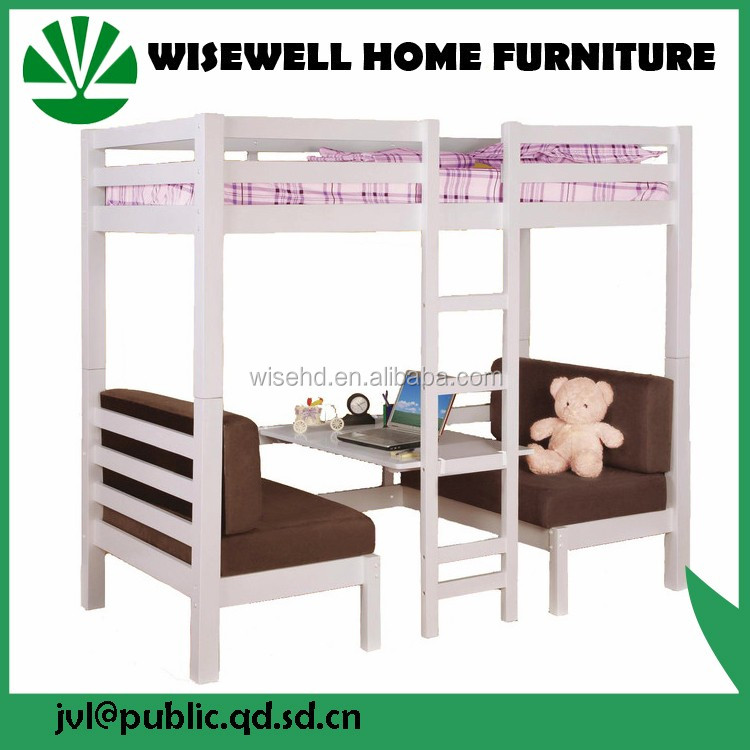 fashion design solid wood bunk bed with study table W-JZ-B15