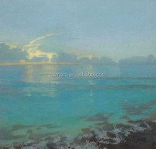 bright blue clear waters the setting sun and the black stone 100%handmade classic decoration oil painting in canvas