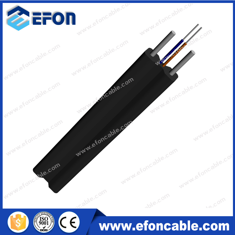 Factory suply FTTH Drop Cable 2 core fiber optic flat flexible drop cable price list
