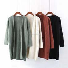 Trendy design long sleeve solid color cardigan women knitted sweater 2017 new wholesale sweater