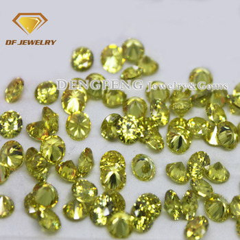 Loose CZ Gems Europe Machine Cut Round Peridot Cubic Zirconia Stones In Stock