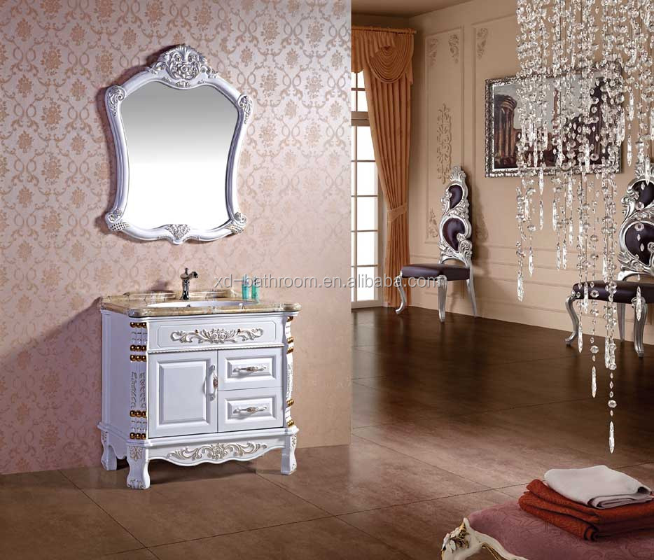 antique design floor standing pvc bathroom cabinet with marble color one piece ceramic basin 2152