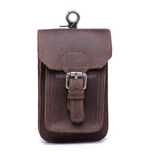BOSHIHO Genuine Leather Cell Phone Pouch Form Men High Quality Mobile Phone Leather Pouch