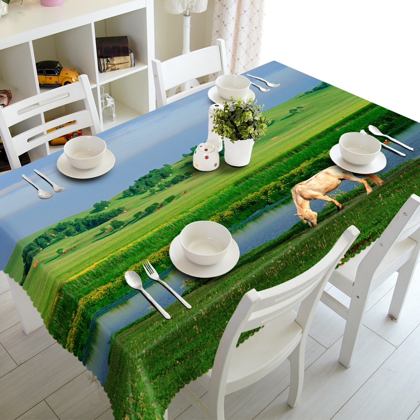 Custom Printed Embroidered Used Banquet Party Wedding Outdoor Tablecloth , Table Cover , Table Cloth With Landscape