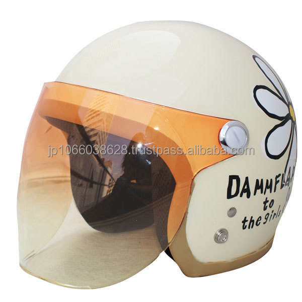 Japanese open face helmet for women with cute flower graphics