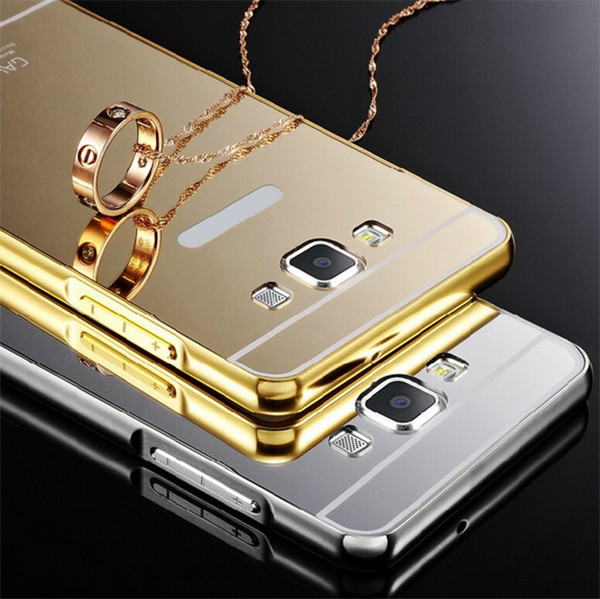 Gold color mirror metal bumper acrylic phone case for samsung galaxy j5 j7