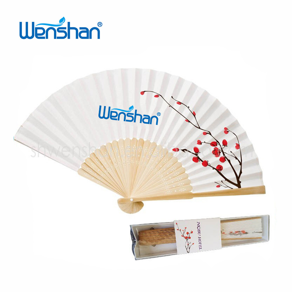 Carved bamboo paper hand fan with single side printing