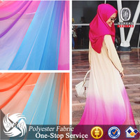 Custom Made Pattern Wholesale High Quality Polyester ombre Gradient Chiffon Fabric for Muslim Fashion