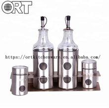 4pcs glass spice jar set with metal stand