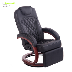 leather Swivel Recliner RV Euro recliner Chair with footrest wooden base RV chair