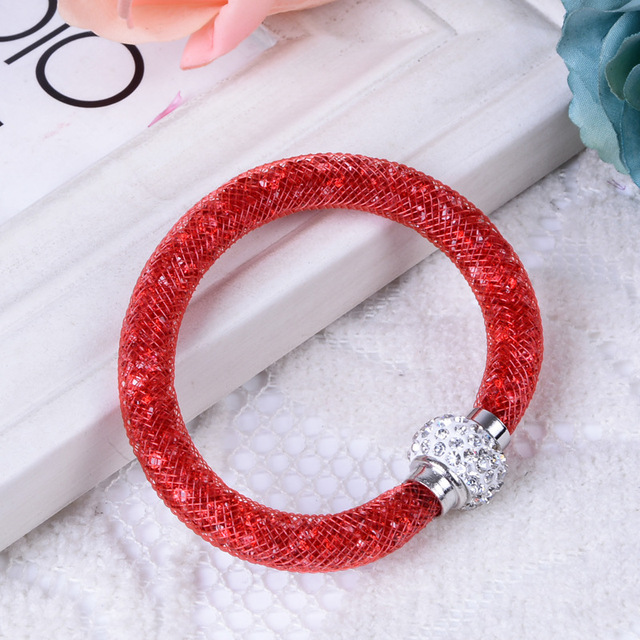 Shambhala mesh tube bracelet star crystal magnetic buckle single layer plastic bangle
