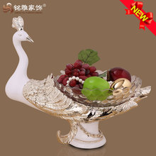 hot selling polyresin peacock fruit plate for home table decor