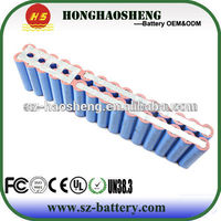 High capacity 24V 13Ah 6s6p lithium ion 18650 battery pack for electric vehicle